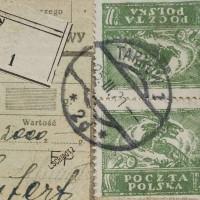 """Fałszerstwo znaczka 20 Mk z """"Ułanem"""" na przesyłkach pocztowych."""