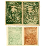 Fałszerstwa znaczka nr 4 i 5 (trąbka pocztowa) obóz VII A – Murnau.